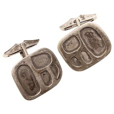 Mid Century STERLING Modernist Vintage Cufflinks - 1950s Abstract Modern