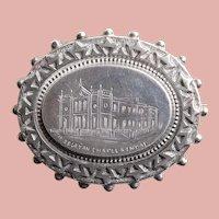 Victorian Sterling WESLEYAN CHAPEL Kendal Antique Brooch - Circa 1884 Souvenir - Birmingham England