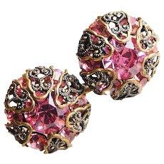 Gorgeous AUSTRIA Pink Rhinestone Earrings - Screw Backs