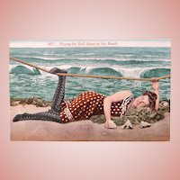 Antique BATHING BEAUTY Girl Postcard - The Shell Game