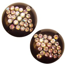 Fabulous Black Early Plastic Aurora Rhinestone Vintage Clip Earrings