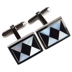 Gorgeous STERLING Mother of Pearl & Black Inlay Cufflinks - Signed WEH