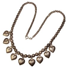 Fabulous STERLING ITALY Heart Design Vintage Necklace