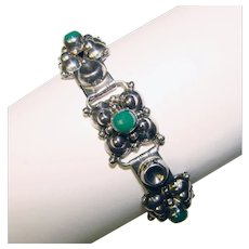Frederick Davis Mexican Sterling Link Bracelet W/ Small Round Turquoise Stones Vintage Ethnic/regional/tribal Mexican, Latin American