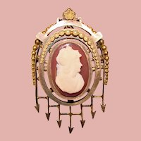 Fabulous Antique Victorian Hardstone Cameo Brooch - with Face Helmet