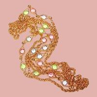 Gorgeous Edge Set Light Colored Crystal Stones Vintage Chain Necklace