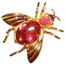 Awesome CORO Bug Insect Pink Rhinestone Vintage Brooch