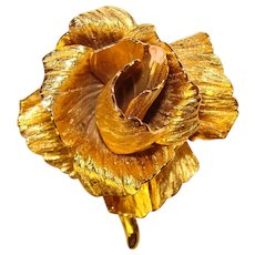 Fabulous CHRISTIAN DIOR Signed Dimensional Rose Design Vintage Couture Brooch