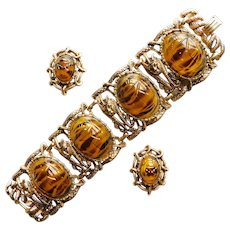 Fabulous Huge SCARAB Plastic Stones Wide Vintage Bracelet Earrings Set - Cleopatra Egyptian Princess