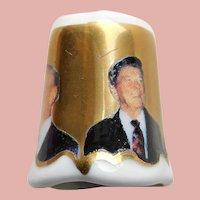 Vintage PAST PRESIDENTS Porcelain Thimble - Reagan Bush Nixon Ford