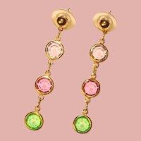 Fabulous Bezel Edge Set Color Crystal Stones Dangle Earrings