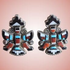 Fabulous ZUNI STERLING Knifewing Stone to Stone Mosaic Inlay Earrings - Native American Indian Vintage 1940s-50's