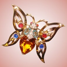 Fabulous STERLING Colored Glass Rhinestone Butterfly Vintage Brooch