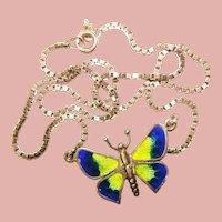 Fabulous STERLING ENAMEL Butterfly Pendant Necklace