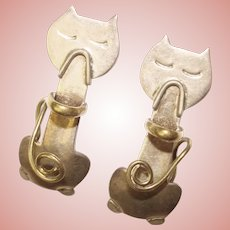 Awesome MEXICAN STERLING Cat Design Vintage Earrings