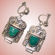 Fabulous MEXICAN STERLING Carved Green Stone Faces Vintage Dangle Earrings