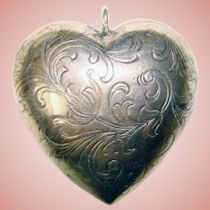 Gorgeous STERLING Large Patterned Puffy Heart Vintage Pendant