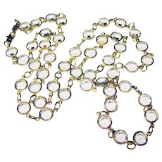 Fabulous CRYSTAL CLEAR Bezel Edge Set Crystal Stones Vintage Necklace
