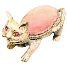 Awesome FLORENZA Signed Cat Vintage Pin Cushion Holder with Nodding Head