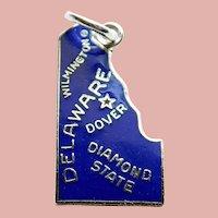 Sterling & Enamel DELAWARE Vintage Estate Charm - State Souvenir