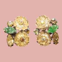 Fabulous CORO Glass Flower Rhinestone Vintage Clip Earrings