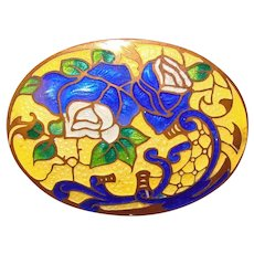 Fabulous CZECH DECO Enameled Estate Brooch - Signed Czechoslovakia