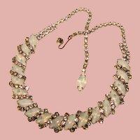 Fabulous Opalescent Glass & Rhinestone Vintage Necklace