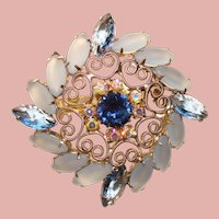 Fabulous FROSTED GLASS Blue Rhinestone Vintage Brooch