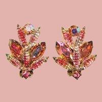 Fabulous Unusual Stones Pink & Pink Aurora Vintage Clip Earrings
