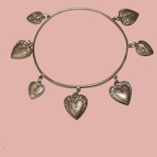 Fabulous Antique Sterling PUFFY HEARTS Bangle Bracelet