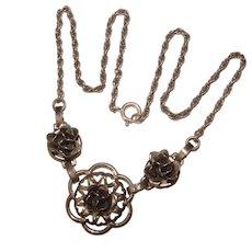 Fabulous DANECRAFT STERLING Flower Design Vintage Necklace