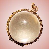 Fabulous Victorian Pools Of Light Crystal Locket Orb Pendant
