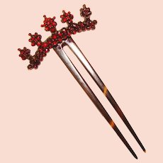 Gorgeous Antique Victorian GARNET TOPPED Hair Comb
