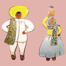 Fabulous MARGOT DE TAXCO Sterling Enamel Señor & Señorita Brooch Set - Figural Lady and Man - Mexican Silver