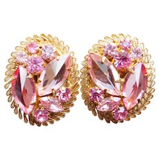 Gorgeous AUSTRIA Points Up Pink Rhinestone Vintage Clip Earrings