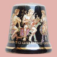 Vintage GREEK GODS & GODDESSES Porcelain Estate Thimble - Souvenir of Greece