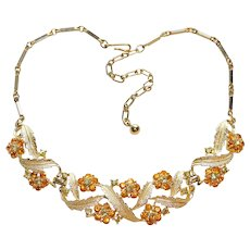 Gorgeous CORO Amber & Yellow Rhinestone Vintage Necklace - Pegasus Mark