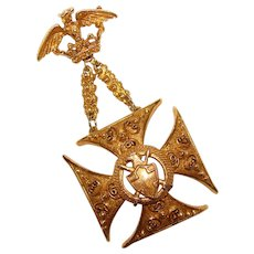Regal Vintage FLORENZA Maltese Cross Eagle & Crown Signed Vintage Brooch
