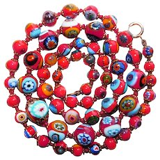 Fabulous RED MILLEFIORI GLASS Beads Italian Vintage Estate Necklace