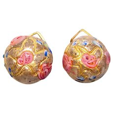 Gorgeous VENETIAN GLASS Wedding Cake Vintage Clip Earrings