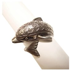 Fabulous STERLING Dolphin Design Vintage Ring