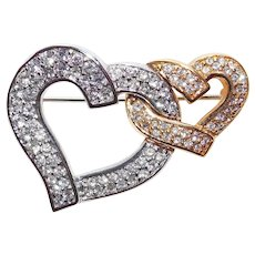 Fabulous SWAROVSKI Intertwining Double Hearts Rhinestone Brooch - Swan Mark