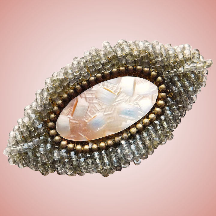 f53d9c986d3 Fabulous ORNELLA Carved Mother of Pearl & Seed Bead Brooch - Italy :  Jewelpigs | Ruby Lane