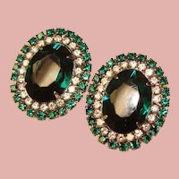 Fabulous Green & Clear Rhinestone Vintage Clip Earrings