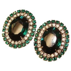 Fabulous Green & Clear Rhinestone Vintage Clip Earrings