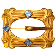 Fabulous Antique Blue Glass Ornate Sash Pin Brooch