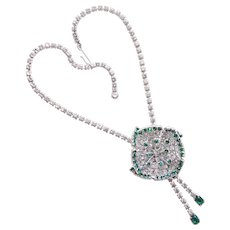 Fabulous Green & Clear Rhinestone Dimensional Flower Necklace