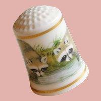 Vintage RACCOONS Porcelain Estate Thimble