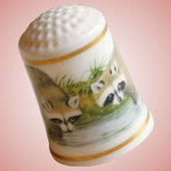Vintage RACCOONS Porcelain Estate Thimble