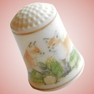 Vintage FOXES Fox Porcelain Estate Thimble